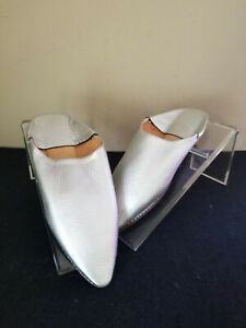 Moroccan Silver  Leather Mules Babouche Slippers Shoes fits US Women's 37 / 6.5