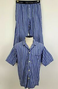Polo Ralph Lauren Pajamas Set Shirt Pants Summer Lightweight Blue Striped Pony M
