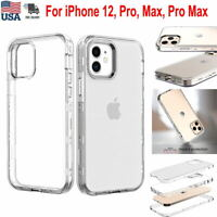 For iPhone 12, Pro, Max, Pro Max Case Crystal Clear Shockproof Bumper Slim Cover