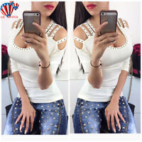Sexy Womens Cold Shoulder Tops T-Shirt Ladies Casual Summer Holiday Blouse Shirt