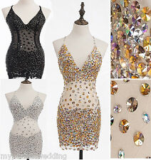 SALE! ALL SIZES MINI SPARKLING Crystals Dress Sheer Beaded Prom Rhinestones
