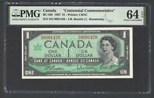 Canada One Dollar 1967 BC-45b Uncirculated Grade 64