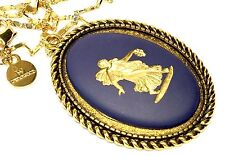 Wedgwood Large Oval Jasperware Cameo On Pendant With Gold Plated Wedgwood Chain