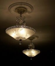 860 CHARMING 40's Vintage Ceiling Lamp Fixture Glass Chandelier 3 Lights 1 of 2
