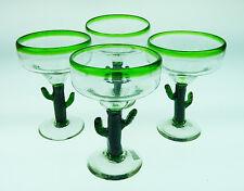 Mexican Margarita Glasses Saguaro cactus with green rim, hand blown (4)