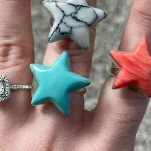 Large Turquoise Star Sterling Ring
