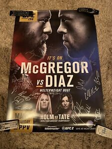 UFC 196 McGregor VS Diaz Poster Signed By The Whole Card With Hologram COA