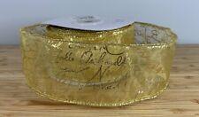 Wide Gold Christmas ribbon. Sheer wired printed joyeux Noel 50mm SOLD PER METER