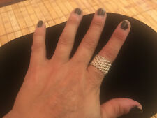 Sterling Silver Basket Weave / Mesh Wide Band Ring - Size 7