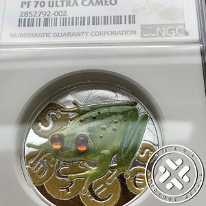 2015 NGC PF 70 ULTRA $2 CAMEO MONEY FROG COLORIZED 1 OZ SILVER  PROOF COIN  NIUE