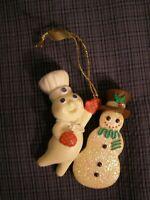 Danbury Mint Pillsbury Dough Boy Hanging Christmas Ornament wth Snowman