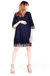 Ingrid & Isabel Maternity Black Lace Bell Sleeve Cotton Dress Small 4 6 New