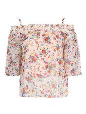 Koko Womens Plus Size Poppy Print Shirred Cold Shoulder Top