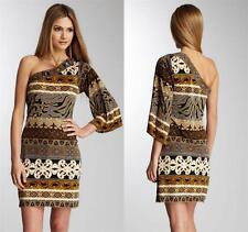 Hale Bob Dress XS 2 4 Silk Jersey Shanghai Neutral Print Bell Sleeve NWT $298