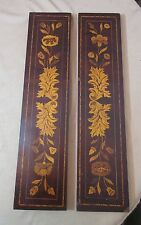 antique ornate hand made marquetry inlaid wooden architectural panel salvage art