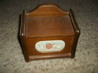 Vintage Wooden Recipe Card Holder Box Nice