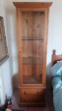 Antique Pine and glass, tall display cabinet