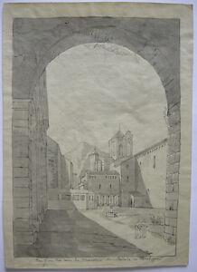 Monasterio S. Maria de Poblet Tarragona Catalunya Tinta china acuarela 1860