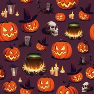 Halloween Fabric - Haunted Halloween Allover Purple Fabric, 100% Cotton