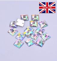 100 x AB Clear Sew on Acrylic Square Diamante Crystal Gems Rhinestone 10mm #6