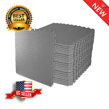 Gym Mat Crossfit Gray Thick Flooring Puzzle Exercise 3/4