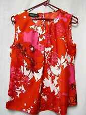 JONES NEW YORK top shirt shell Med 10 Bust 40 Length 24 red/white/pink Floral