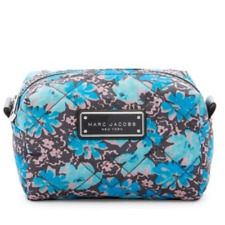 NWT Marc Jacobs Blue Gray Large Quilted Wildflower Makeup Cosmetic Bag Case