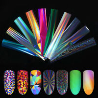 Blue Holographic Nail Foils Gradient Starry  Nail Art Transfer Stickers