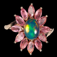 Unheated Oval Fire Opal Rainbow 8x6mm Pink Tourmaline 925 Sterling Silver Ring