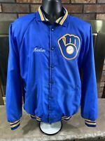 Vintage Milwaukee Brewers MLB Baseball Satin Snap Jacket Men Size XL Made in USA