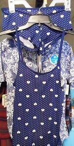 CAMI BOYSHORT SET PRETTY NECESSITIES LARGE BLUE WHITE HEART DOT PRINT NWT