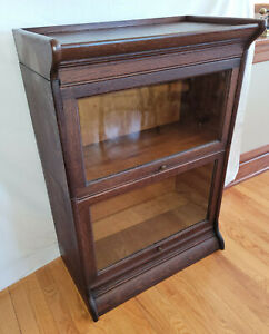 "Gunn Quarter Sawn Oak Rare 26"" Wide 3/4 Size Barrister Bookcase 2 Stack Top Base"