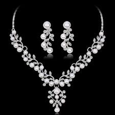 Fashion Imitation Pearl Short Necklace Earrings Jewelry Set Prom Party SP