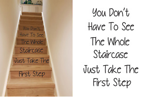 Stairs quote vinyl decal sticker take the first step inspirational 03