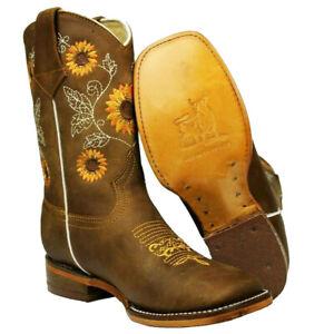 Kids Little Girl Sunflower 100% Leather Western Cowgirl Boots Botas Girasol