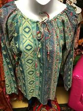 hippy tribal print Blouse Blouses peasant style Top Tops  One Size