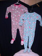 2 Carters 3T Footed Pajamas Girls New w/o tag Snowman Polar Bears Cute!!