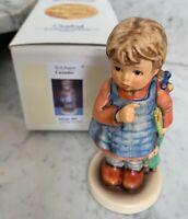 """I Wonder"" Goebel Hummel Figurine #486 TMK7 Little Girl In Dress With Doll W Box"