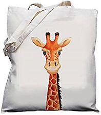 Cute Giraffe Head Design Natural (Cream) Cotton Shoulder Bag / Shopper /Tote