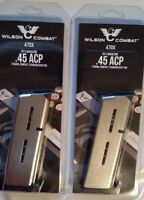 Lot of 2 - Wilson Combat 1911 45acp 7 Round Magazine Compact Officer Model -47OX