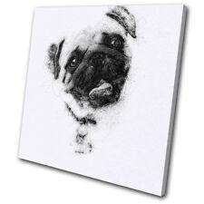 Animals Pug Sketch Modern  SINGLE TOILE murale ART Photo Print