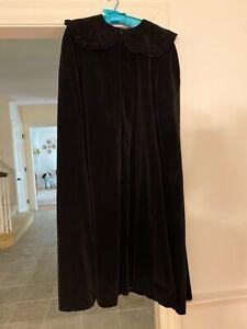 Vintage Black Velvet Full Length Opera Cape, Satin lined, size 6 new witch cape
