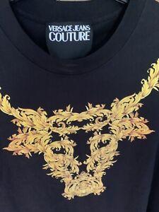 Versace Jeans Couture Black Gold T-Shirt Skull Animal  Logo Print XL