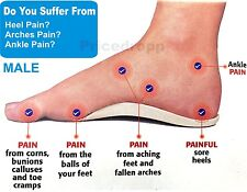 ORTHOTIC FOOT SUPPORT INSOLE FLAT FEET HEELS ARCHES BUNION PAIN RELIEF - FOR MEN