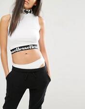 Ellesse Kristen Crop Top para Mujer con cuello alto con el logotipo en blanco-Talla 14UK Venta