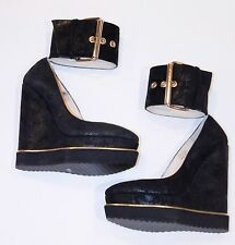 PALOMA BARCELO Spain Platform WEDGE Ankle Belt Strap SHOES Suede Glitter $300+