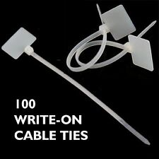 100 CABLE TIES with Write on labels - Organise your leads and Cables