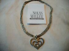 NOLAN MILLER NIB BRILLIANTCyrstal HEARTS NECKLACE Silvertone Grt Gft WOW!