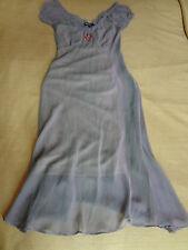90s Vintage Betsey Johnson Sheer Lavender Iridescent Dress W/ Rose Detail Sz S