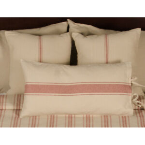 """Grain Sack Stripe Oat and Barn Red 18"""" x 18"""" Pillow Cover by Raghu"""